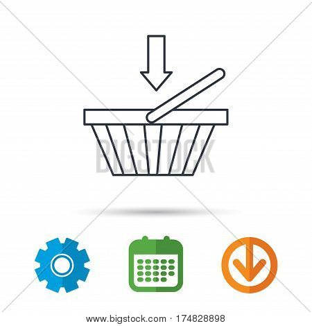 Shopping cart icon. Online buying sign. Calendar, cogwheel and download arrow signs. Colored flat web icons. Vector
