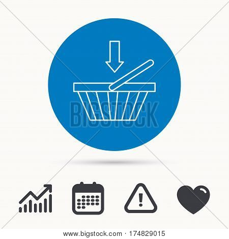 Shopping cart icon. Online buying sign. Calendar, attention sign and growth chart. Button with web icon. Vector
