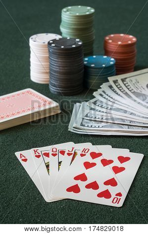 Poker Cards On Casino Table