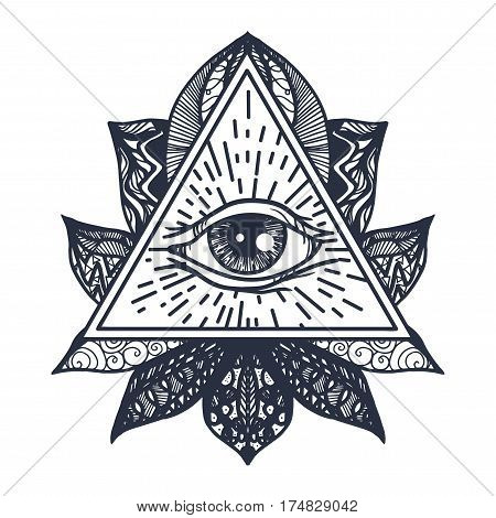 Vintage All Seeing Eye in Mandala Lotus. Providence magic symbol for print tattoo coloring bookfabric t-shirt cloth in boho style. Astrology occult esoteric insight sign with eye. Vector
