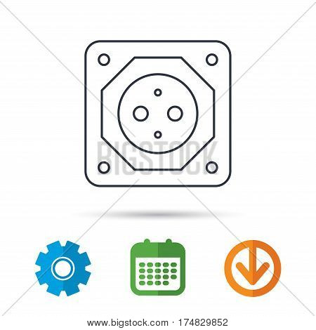 European socket icon. Electricity power adapter sign. Calendar, cogwheel and download arrow signs. Colored flat web icons. Vector