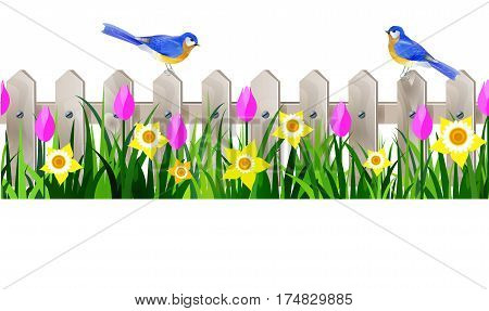 Green Grass and white wooden fance seamless isolated clip art vector on white with rose tulips and yellow daffodils and bluebirds