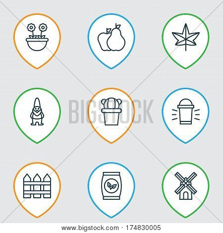 Set Of 9 Gardening Icons. Includes Dwarf, Mill, Hang Lamp And Other Symbols. Beautiful Design Elements.