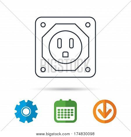 USA socket icon. Electricity power adapter sign. Calendar, cogwheel and download arrow signs. Colored flat web icons. Vector