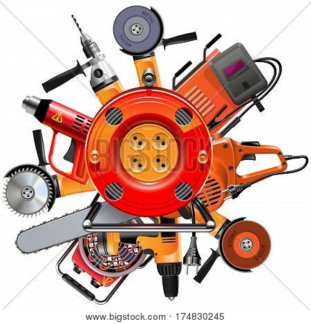 Vector Cable Reel with Power Tools isolated on white background