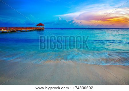View from the pier and beautiful caribbean sea with blue sky.