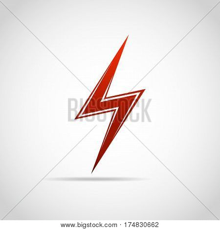 Lightning icon. Vector illustration. Red lightning icon isolated on light background.