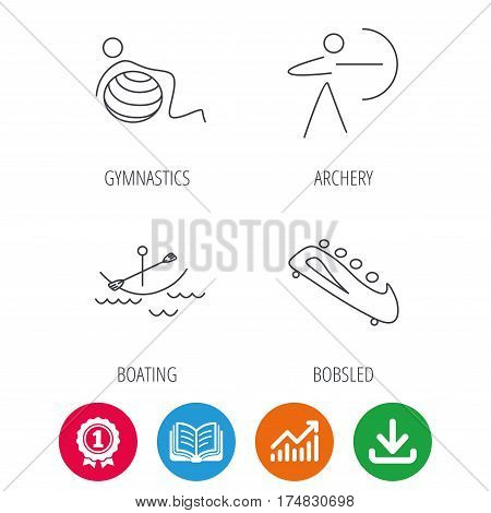 Gymnastics, boating and archery icons. Bobsled linear sign. Award medal, growth chart and opened book web icons. Download arrow. Vector