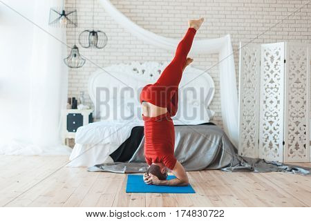 Man costs on the head in the morning he is a yogi.