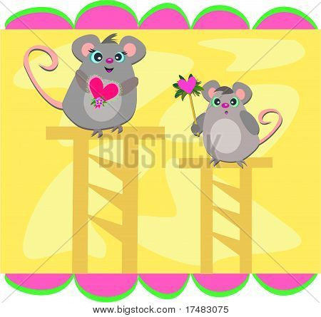 Here is a pair of cute Mice on wooden stands. poster