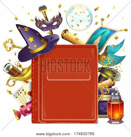 Vector Magic Book isolated on white background
