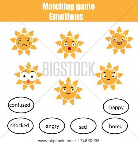 Matching children educational game match sun and mood. Learning emotions and vocabulary theme.