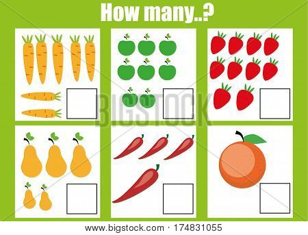 Counting educational children game kids activity worksheet. How many objects task. Learning mathematics numbers addition theme