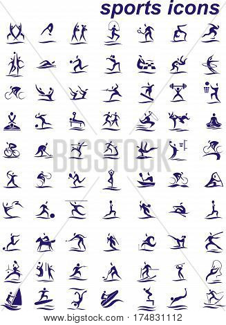 Set of icons - sports. 70 Web icons on the sports theme. Vector illustration