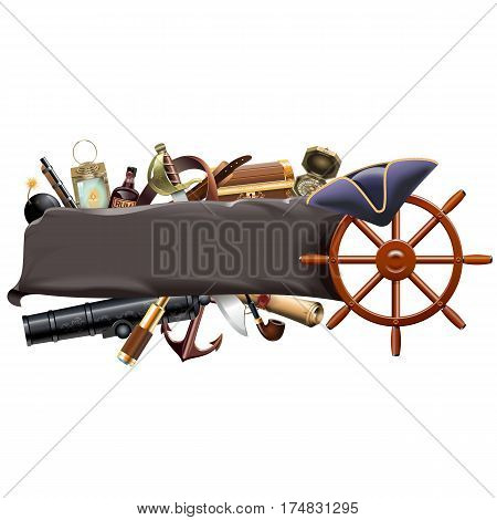 Vector Pirate Banner isolated on white background