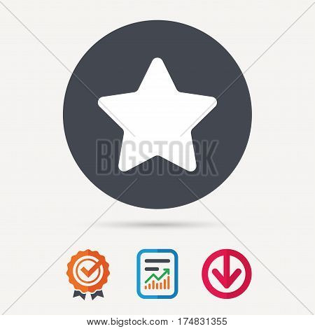 Star icon. Favorite or best sign. Web ranking symbol. Report document, award medal with tick and new tag signs. Colored flat web icons. Vector