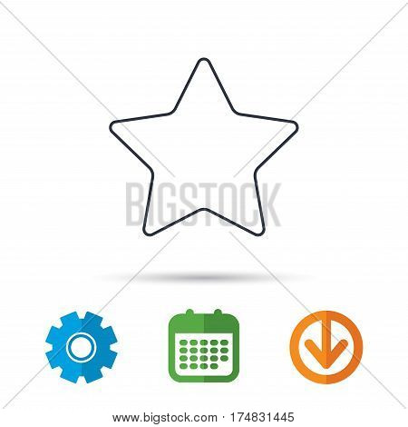 Star icon. Add to favorites sign. Astronomy symbol. Calendar, cogwheel and download arrow signs. Colored flat web icons. Vector