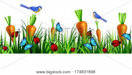 Green Grass seamless isolated clip art vector on white with blue butterflyes and ladybugs carrots bluebirds vector