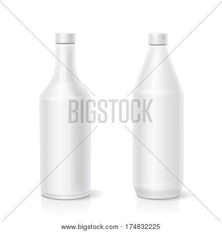 White ketchup mayonnaise mustard blank different plastic bottles template isolated illustration for branding