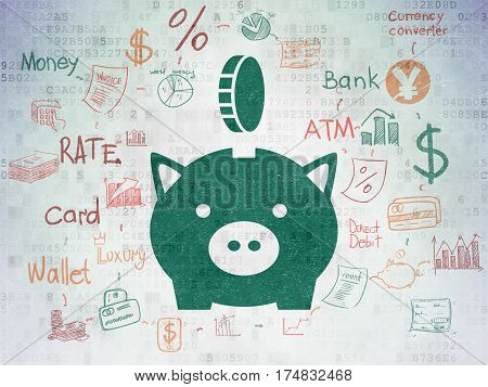 Money concept: Painted green Money Box With Coin icon on Digital Data Paper background with Scheme Of Hand Drawn Finance Icons