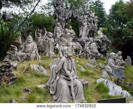 Heng Shan, Hunan, China - Oct 15, 2009: Monument Of 18 (16) Arhats In The Garden Behind Nanyue Damia
