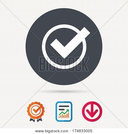 Tick icon. Check or confirm symbol. Report document, award medal with tick and new tag signs. Colored flat web icons. Vector