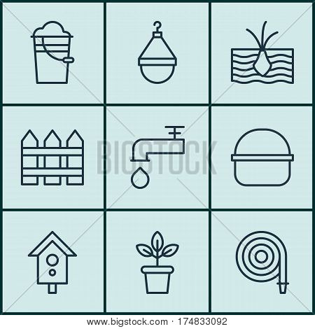 Set Of 9 Gardening Icons. Includes Flowerpot, Spigot, Package And Other Symbols. Beautiful Design Elements.