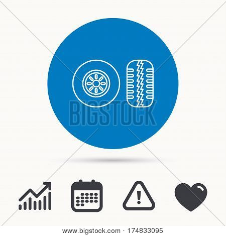 Tire tread icon. Car wheel sign. Calendar, attention sign and growth chart. Button with web icon. Vector