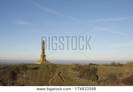 Ham Hill War Memorial near Yeovil in Somerset in England