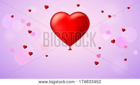 Bright red heart, the inflatable balloon in the shape of a realistic, big heart with tape, ribbon. Greeting card for your friends, loved ones on abstract, colored pattern on a background.