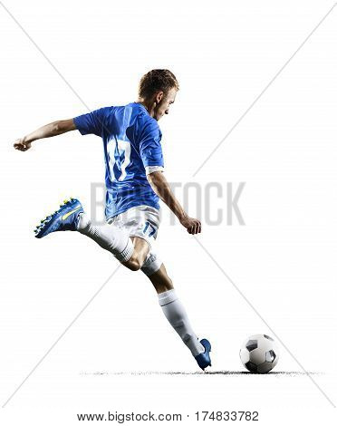 Professional football soccer player in action isolated on white background