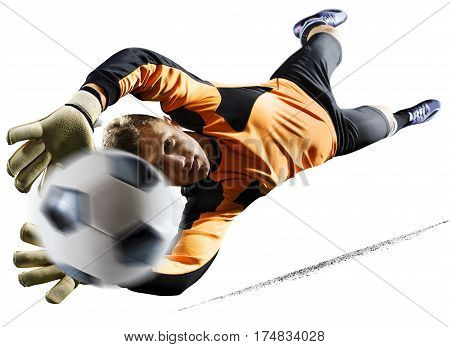 Professional goalkeeper in action isolated on white background