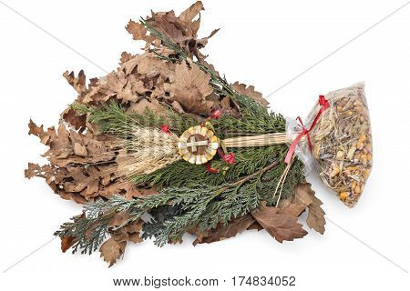 Badnjak - Yule-log, mistletoe, fir branches, wheat, Serbian Christmas
