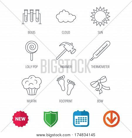 Footprint, lab bulbs and thermometer icons. Muffin, bow and lolly pop linear signs. Cloud and sun flat line icons. New tag, shield and calendar web icons. Download arrow. Vector