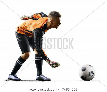 Professional goalkeeper in action on white background