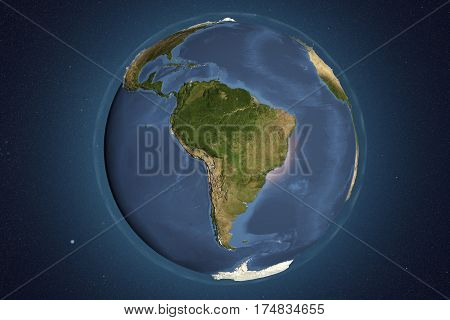 Planet Earth from space showing South America with enhanced bump, 3D illustration, Elements of this image furnished by NASA