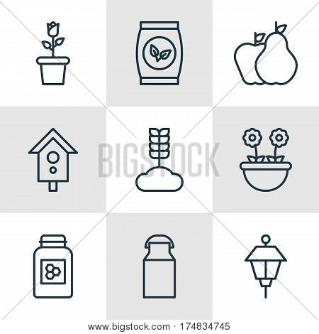 Set Of 9 Planting Icons. Includes Cereal, Jug, Lantern And Other Symbols. Beautiful Design Elements.