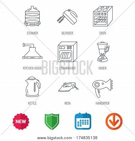 Dishwasher, kettle and mixer icons. Oven, steamer and iron linear signs. Hair dryer, blender and kitchen hood icons. New tag, shield and calendar web icons. Download arrow. Vector