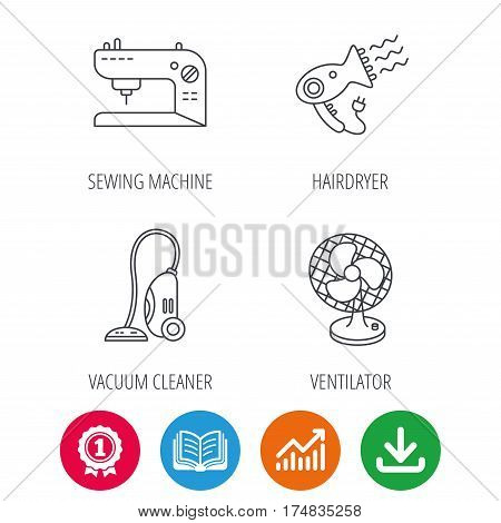 Ventilator, sewing machine and hairdryer icons. Ventilator linear sign. Award medal, growth chart and opened book web icons. Download arrow. Vector