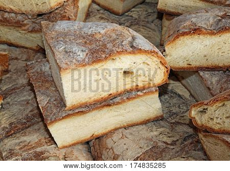 Bread Cooked In A Wood Oven For Sale In Market Stall