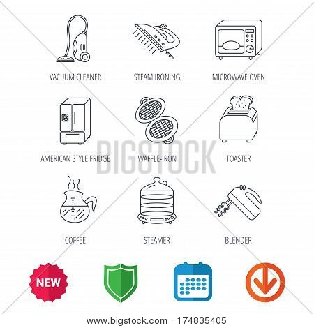 Microwave oven, coffee and blender icons. Refrigerator fridge, steamer and toaster linear signs. Vacuum cleaner, ironing and waffle-iron icons. New tag, shield and calendar web icons. Download arrow