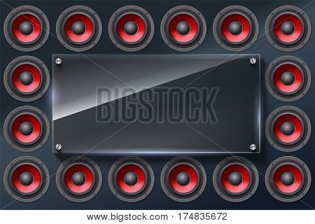 Audio speakers, subwoofers, wall of sound loudspeaker with red diffuser isolated on dark background. Glass banner with copy space, place for your text.