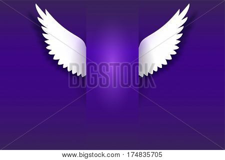 Angel wings hovering in the dark. Card with white angelic wings with place for your text