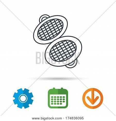 Waffle iron icon. Kitchen baking tool sign. Calendar, cogwheel and download arrow signs. Colored flat web icons. Vector