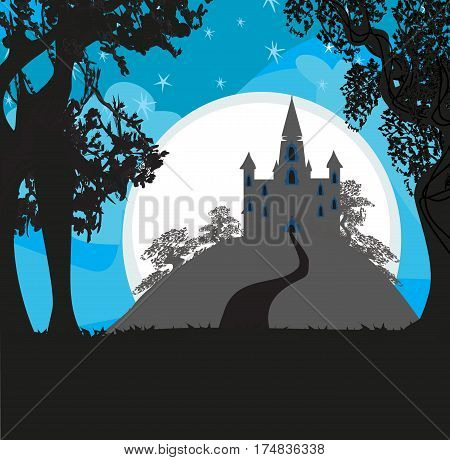 Magic Fairy Tale Princess Castle in the night , vector illustratrion