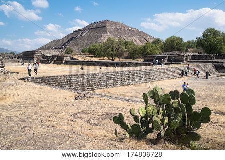 Teotihuacan, Mexico, circa february 2017: Pyramid of the sun, the third largest pyramid in the world in Teotihuacan archeology site