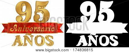Golden digit ninety five and the word of the year. Translated from the Spanish. 3D illustration