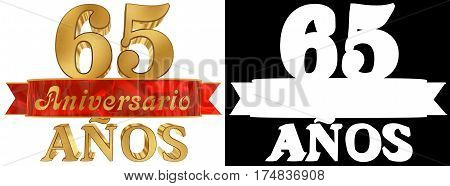 Golden digit sixty five and the word of the year. Translated from the Spanish. 3D illustration