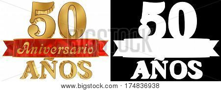 Golden digit fifty and the word of the year. Translated from the Spanish. 3D illustration