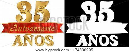 Golden digit thirty five and the word of the year. Translated from the Spanish. 3D illustration